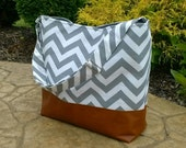 Chevron Messenger Bag made with brown leather, Diaper bag in gray zig zag and leather, Purse, Everything Bag, Zig Zag,
