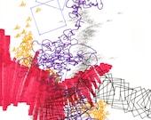 """Language 16, small, abstract, original, 8"""" x 11"""" drawing"""