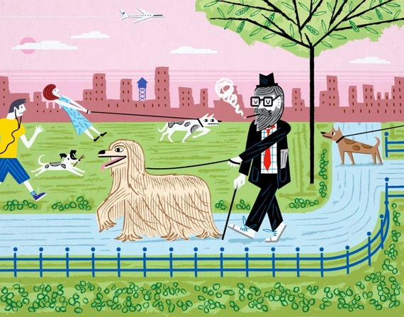The Dog Walkers - Limited Edition Art Print - iOTA iLLUSTRATiON