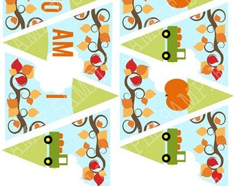 Pumpkin High Chair Banner First Birthday and Cake Bunting - First Birthday Truck Harvest Leaves Fall  INSTANT download