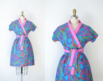 1960s Swirl Wrap Dress / 60s Psychedelic Print Day Dress