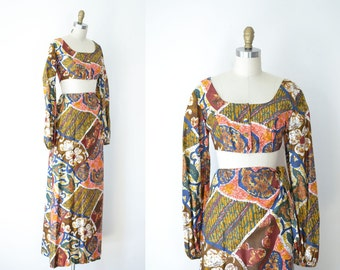 1960s Batik Dress / 60s 70s Sarong Skirt and Crop Top