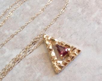 Gold Nugget Necklace Triangle Rhodolite Garnet 14k Yellow Hand Made Artisan