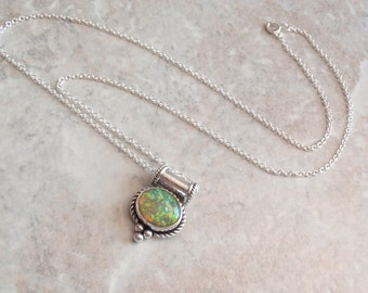 Sterling Opal Necklace Lab Created Opal Green Yellow 18 Inch Curb Chain Vintage CW0196