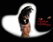 Steampunk Hat Gothic Victorian Style Mini in Black with Skull Feathers, and Ostrich Plume with subtle sequins