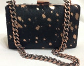 Rose Gold Frame with Black hair hide and matching Rose Gold metallic splatter- In Stock