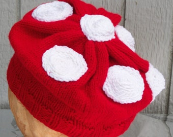 Cherry Red Hand Knitted Cap with White Dots