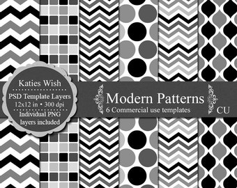 Modern Designs digital paper templates CU png, psd layered templates Instant Download