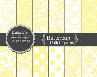 Buttercup Digital Paper Kit 12x12 inch jpg files Instant Download for invites, scrapbooking, web design