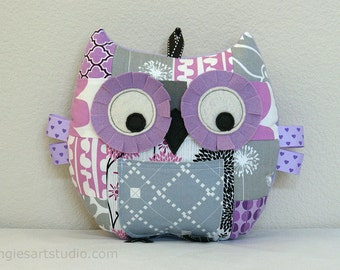 Owl Pillow, Tooth Fairy Pillow, Owl Plush Toy, Stuffed Animal, Patchwork Owl, Great Baby Girl Gift, Lilac and Gray