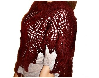 Hand knitted lace triangle angora shawl Crushed Rubies OOAK