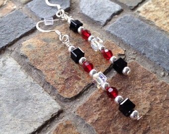 Red, Black and Clear Swarovski Earrings