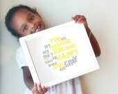 You Are My Sunshine print in yellow and gray - horizontal