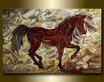 Horse Portrait Modern Animal Oil Painting Textured Palette Knife Original Art 24X36 by Willson Lau