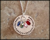 4 Name Hand Stamped Personalized Mommy Grandma Necklace Grandchildren