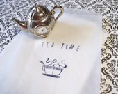 Hand Stamped Glassine Favor Bag, Tea Time, Treat Bag, Cookies, Pastry, Tea Party- 12 bags