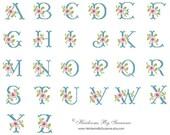 Rose Monogram Set - Floral Machine Monogram - Machine Cross Stitch Monogram - Cross Stitch Rose Monogram - Floral Antique Monogram - 4 x 4