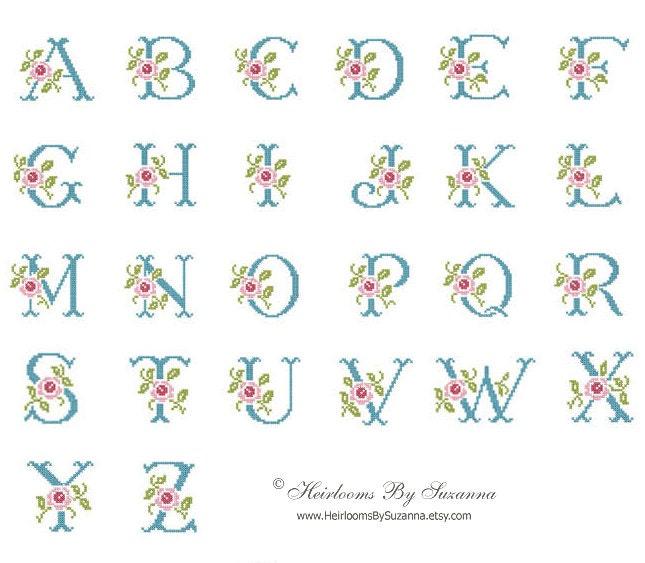 Shop Floral Monograms At Littlebrownnest Etsy Com: Rose Monogram Set Floral Machine Monogram Machine Cross