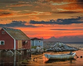 Red Sunset at Peggy's Cove Harbor with Boat in a Fishing Village near Halifax in Nova Scotia Canada - A Nautical Seascape Boat Photograph