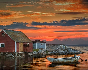 Peggy's Cove, Photograph, Red Sunset, Harbor with Boat, Fishing Village, Halifax, Nova Scotia, Canada, Nautical, Seascape, Boat Photography