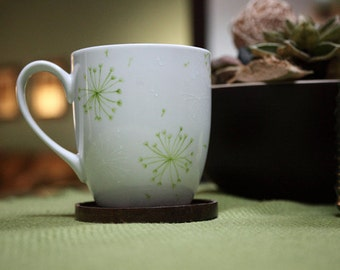 Hand Painted Ceramic Coffee Mug Tea Cup Green Dandelion Botanical Design  White  Modern Kitchen Decor Decorative Art