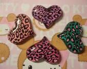 Kawaii leopard heart cabochon decoden deco diy charm  4 pcs---USA seller