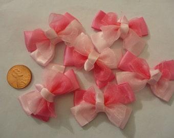 Kawaii pink ribbon bow motifs   6 pcs--USA seller