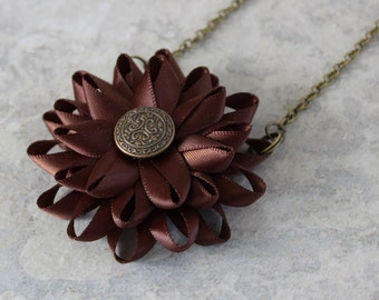 Chocolate Brown Necklace, Brown Flower Necklace, Brown Jewelry, Big Flower Necklace, Unique Handmade Necklaces for Women, Dark Brown Flowers