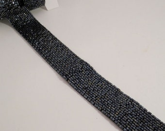 "Gunmetal Gray Heavily Beaded Trim 1+"" Wide--One Yard"