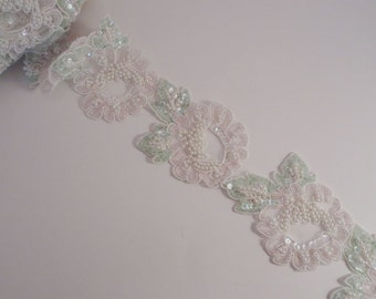 Pale Pink and Green Floral Design Beaded Organza Trim--One Yard