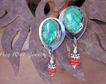 Handcrafted Artisan Silver Smith Malachite  Post Earrings