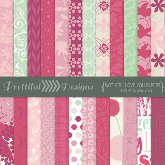 50% OFF SALE Mothers Day Digital Scrapbook Printable Paper Pack Instant Download - Mother I Love You (820)