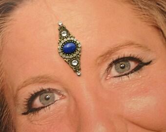 Genuine Lapis Lazuli Bindi in Oxidized Brass