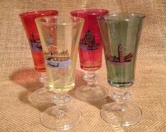 Vintage Souvenir Apertif Glasses Set of 4 Venice Italy Barware