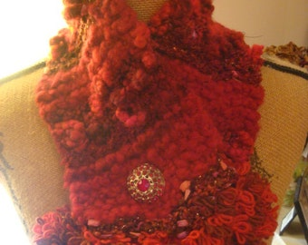 Red Neck Warmer with Red vintage rhinestone button