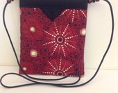 Deep Red Australian Print Quilted Fabric Snap Bag Purse