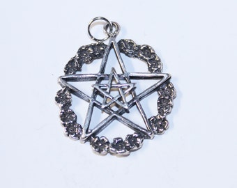 Garland Pentacle with Pentagram Sterling Silver Pendant  Pent025