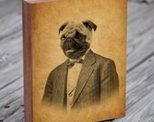 Pug Art - Pug in a Suit - Dog in a Suit - Wood Block Print - Pug Art Print