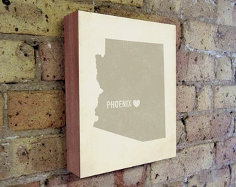 Phoenix Art Print - Arizona Art - Phoenix Art - Phoenix Arizona - I Love Phoenix - Wood Block Art Print