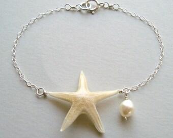 Real Starfish Bracelet, Sterling Silver, Beach Charm Bracelet or Anklet, Starfish Anklet, Boho Beach Bracelet