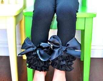 Black Leggings with Full Ruffles and Large Bows / Girls Leggings