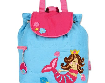 SHIPS NEXT DAY--Personalized Monogrammed --New Pattern-- Stephen Joseph Kid Quilted Mermaid Backpack--Free Monogramming--