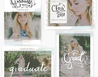 Boho Grad 5x7 Whcc Graduation Cards with Hand-lettered Wordarts  (DOWNLOAD)
