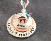 Personalized Mom Necklace - Hand Stamped Mother's Sterling Silver Eternity Circle Jewelry with Baby Feet and Kid's Names -For Christmas Gift