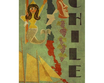 CHILE 2F- Handmade Leather Postcard / Note Card / Fridge Magnet - Travel Art