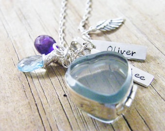 glass locket heart shaped sterling silver keepsake with hand stamped personalized name tags necklace
