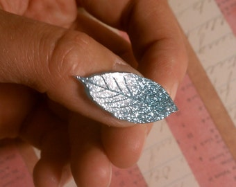 Little Leaves Light Blue Glitter Handcast Resin Stud Earrings