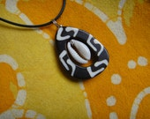 Kenyan Batik Bone Cowrie Shell Pendant African Teardrop Tribal Seashell Necklace