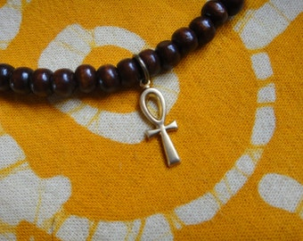 Little Brass Ankh Charm Prayer Bead Bracelet / Anklet Mens Ancient Egyptian Jewelry