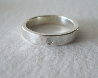 Diamond Band Ring in Hammered Sterling Silver - Wedding, Engagement, Anniversary Diamond Ring